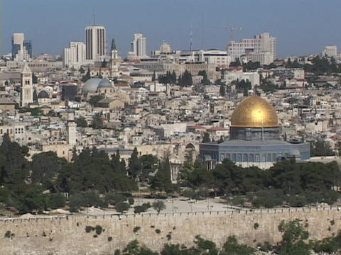 Jerusalem stretches to the horizon, with the Dome of the Rock as a prominent feature Footage