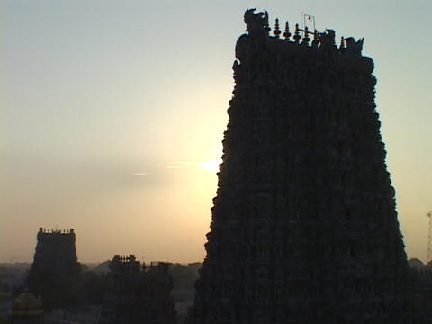 Statues of gods adorn the exterior of an Indian temple Stock Video Footage