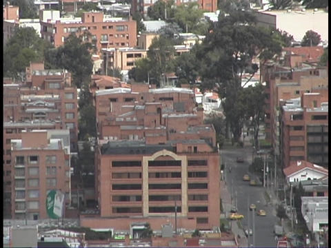 The immense city of Bogota, Colombia stretches to the... Stock Video Footage
