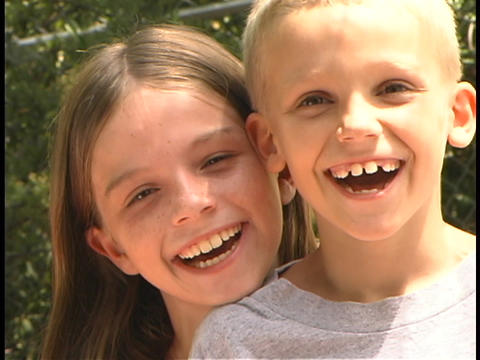 young children laugh together Stock Video Footage