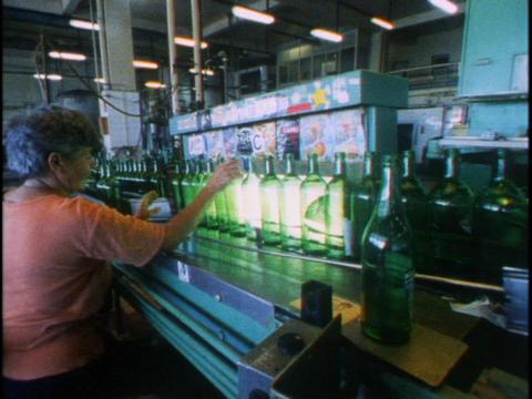 Women work in a bottle factory in the Czech Republic Stock Video Footage