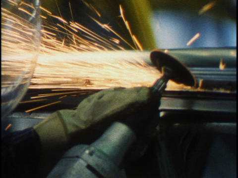 Workers Work An Assembly Line In Car Factory stock footage