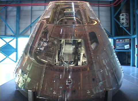 The top of a rocket has a clear exterior for visitors to see the inside at the Kennedy Space Center Footage