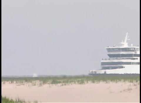 A passenger boat passes by a sandy coastline Stock Video Footage