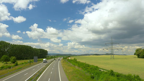 Highway in sunny landscape. Transport in Germany, Europe Footage