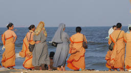 Christian nuns on Marina beach,Chennai,India Footage