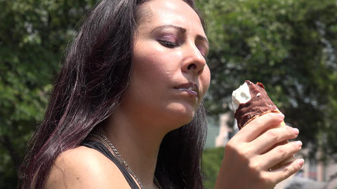 Woman Eating Ice Cream Footage