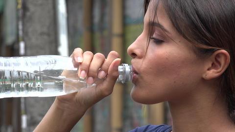 Woman, Water Bottle, Drink, Beverage Footage