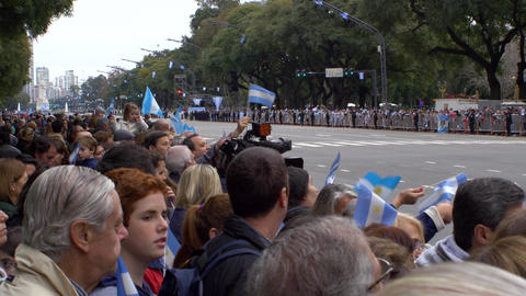Argentinians expecting the marching bands in Bicentennial independence day celeb Footage