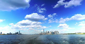 Skyline of Lower Manhattan and Jersey City as Seen from Staten Island Ferry Footage