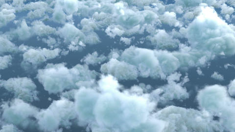 White fluffy clouds in blue sky Live Action