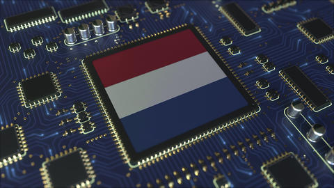 Flag of the Netherlands on the operating chipset. Dutch information technology Live Action