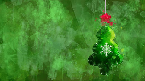 Watercolor decoration - green Christmas tree on the background of colored blots Animation