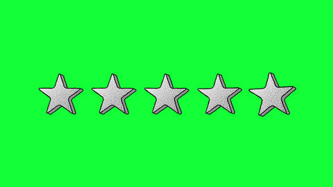 Mouse Click on 5 Stars in Memphis Style on Green Screen Animation