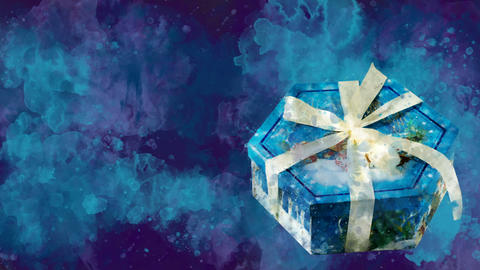 Watercolor Christmas decoration hexagon box on the background of colored blots Animation