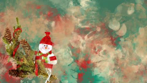 Watercolor Christmas decoration fir, snowman on the background of colored blots Animation