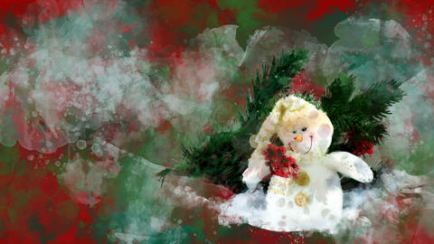 Watercolor Christmas decoration snowman, fir on the background of colored blots Animation