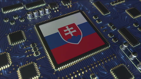 National flag of Slovakia on the operating chipset. Slovak information Live Action