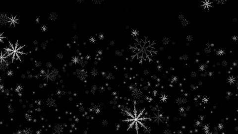 Seamless loop, falling snowflakes on black screen. Chroma Key. 4k resolution Animation