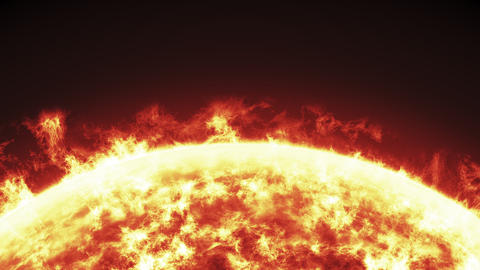 Close up of the Sun burning brightly, loopable animation on a black background Animation