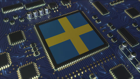 National flag of Sweden on the operating chipset. Swedish information technology Live Action