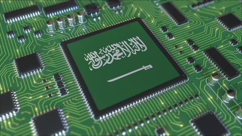 National flag of Saudi Arabia on the operating chipset. Information technology Live Action