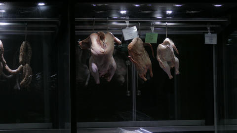 4K Ungraded: Carcasses of Chicken, Duck and Turkey Hanging on Hooks in The Footage
