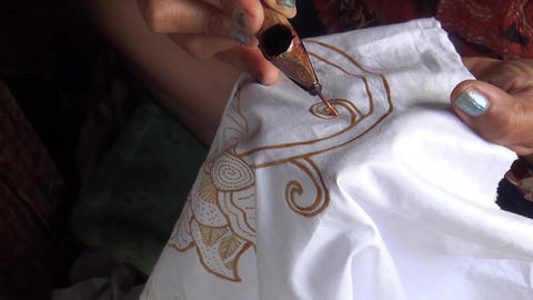 Process of making Batik in Indonesia Footage