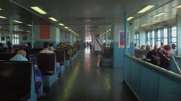 Walking Past Passengers on Staten Island Ferry Footage