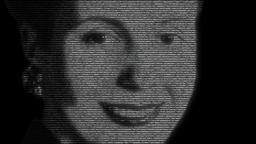 Animation of Evita Perón Face with numbers running Animation