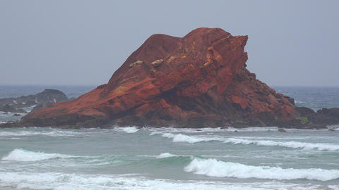 Rock Formation At Ocean Beach Footage