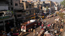 TIMELAPSE Busy spice market with busy street,New Delhi,India Footage
