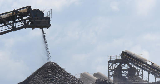 Mining industry quarry gravel excavator conveyor machinery Footage