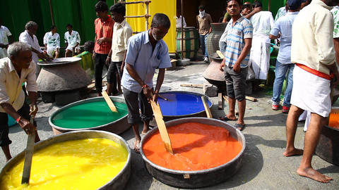 People in Cloth Colour Dying Factory Footage