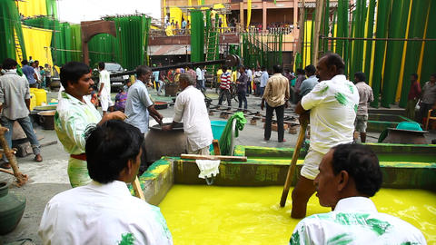 People in Cloth Colour Dying Factory Live Action