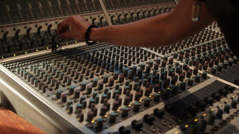 Audio recording music desk console in professional music recording studio Footage