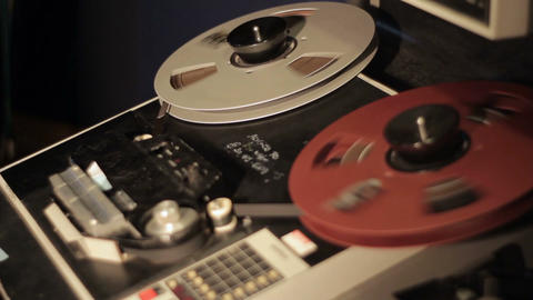 Retro audio tape deck recorder machine to record audio onto a magnetic strip Footage