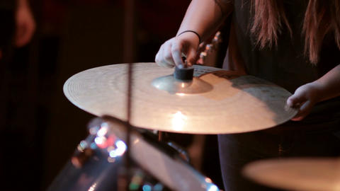 Drum kit equipment for drummer of a band in music recording studio Footage