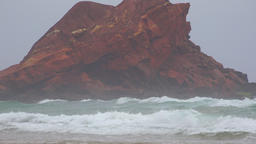 Rock Formation On Beach Live Action