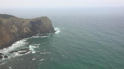Cliffs At Ocean On Foggy Day Footage