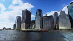 View of Lower Manhattan as Seen from East River Ferry Footage