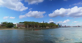 View of Governors Island with Freedom Tower in Background Footage