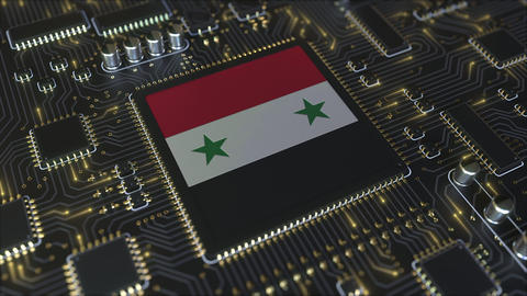 National flag of Syria on the operating chipset. Syrian information technology Live Action