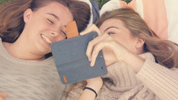 Bff best friends having fun together taking selfie photos with phone Footage