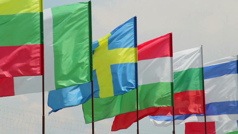 International summit European flags on wind day time Footage