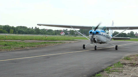 Steering plane with propeller approaching Footage