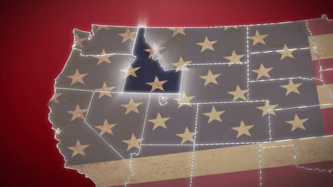 USA map, Idaho pull out, all states available. Red background Live Action