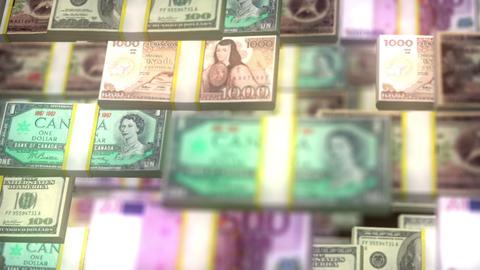 Heart of money. Euro, dollar, yen in love shape. Fly around Footage