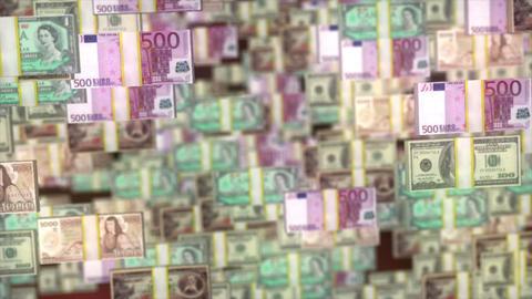 World Money fly through. US dollars, Euro, Japan Jen, Canadian Footage