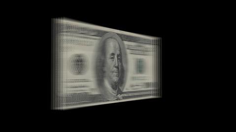 100 dollar bill turns into stack of dollar bills, spinning Footage